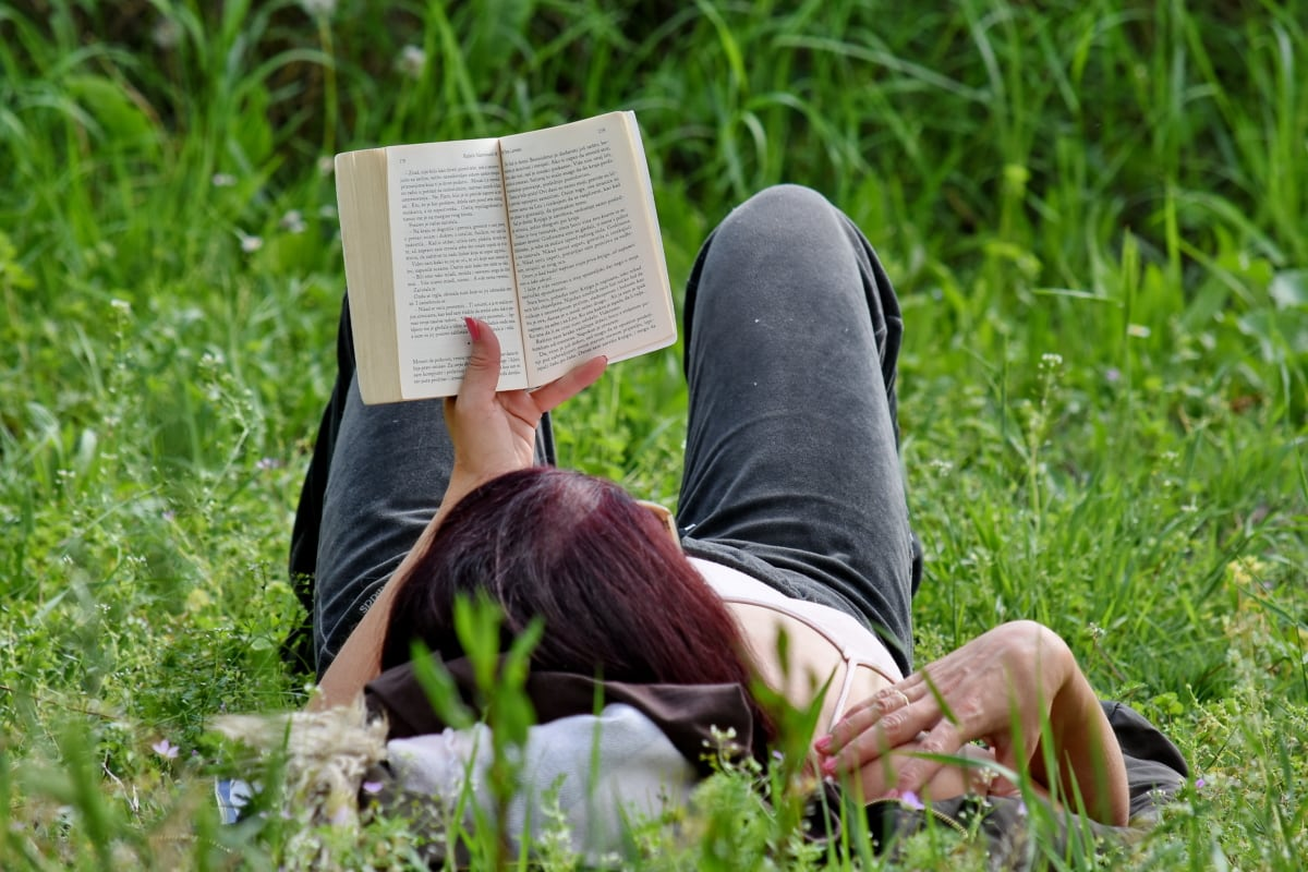 book, reading, relaxation, spring time, woman, person, park, farmer, outdoors, grass