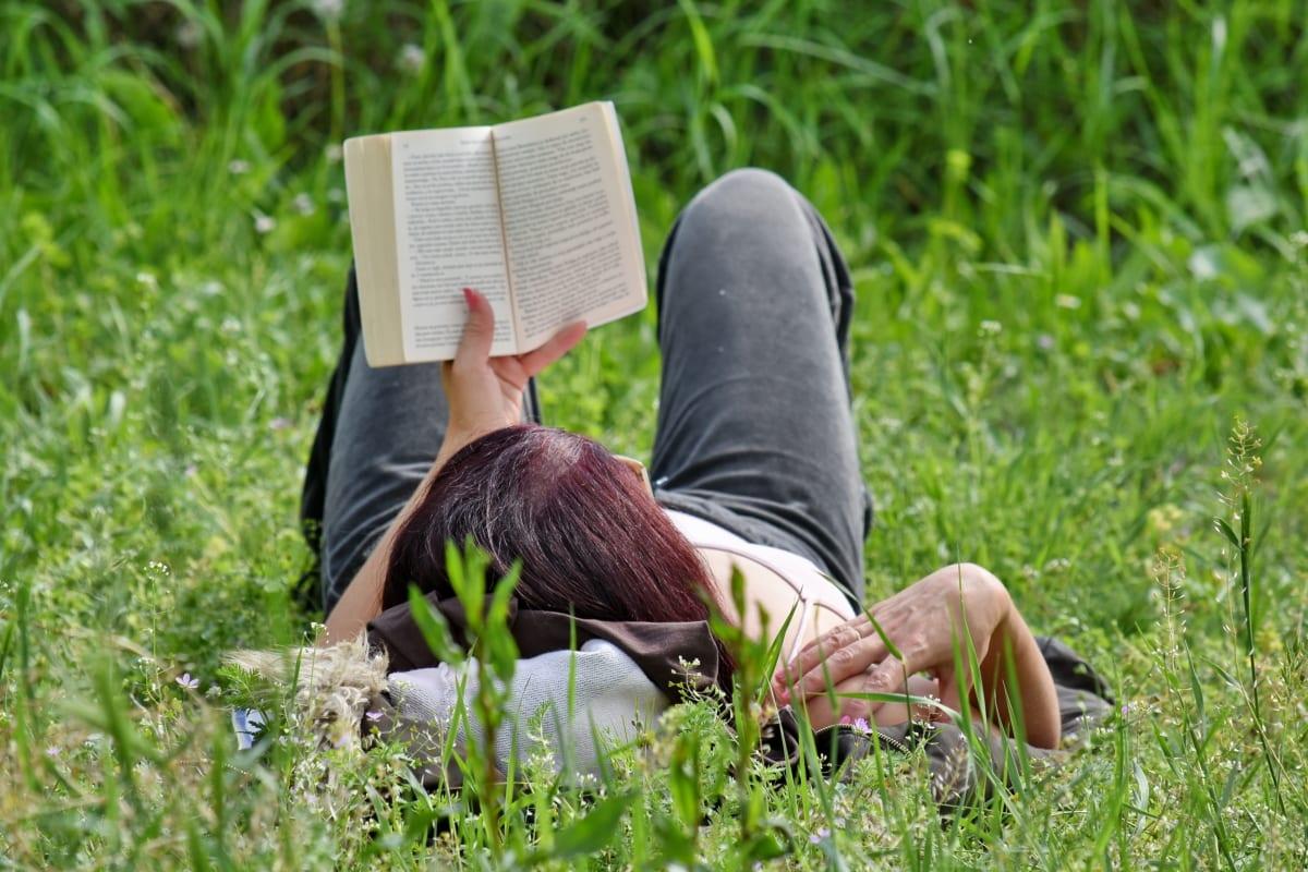 kniha, tráva, čítanie, relax, letné, žena, park, osoba, príroda, vonku
