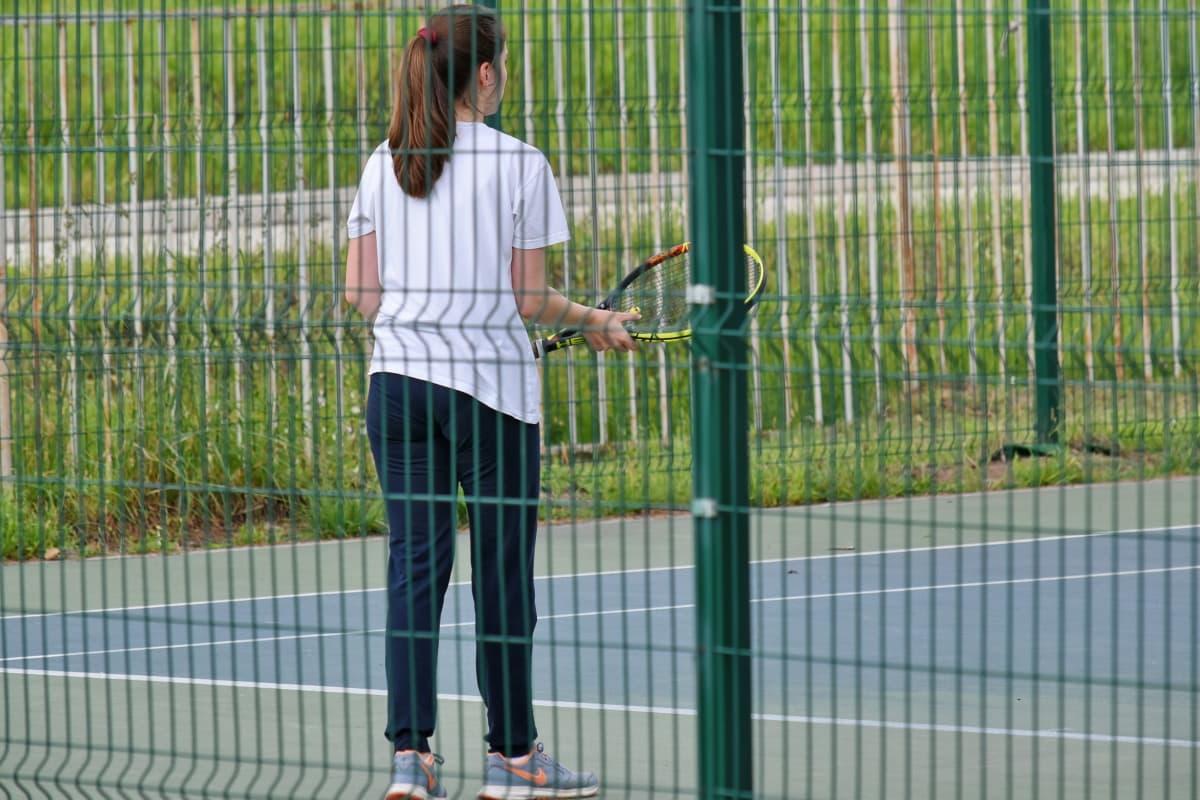 lijepa djevojka, tenis, teniski teren, teniski reket, sportski, na otvorenom, ograda, Mladi, žena, način života