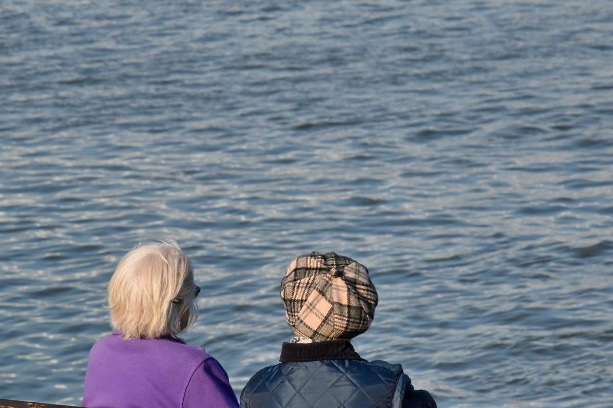 bà ngoại, hưu, nước, phụ nữ, Đại dương, hồ nước, giải trí, giải trí, ngoài trời, người