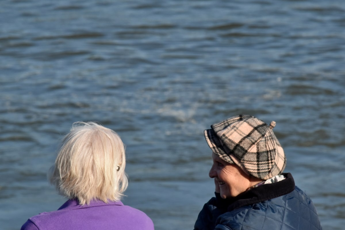 elderly, grandmother, togetherness, water, sea, leisure, river, outdoors, people, lake
