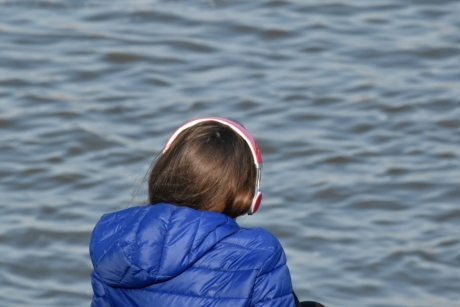 earphones, woman, beach, river, nature, water, outdoors, leisure, summer, recreation