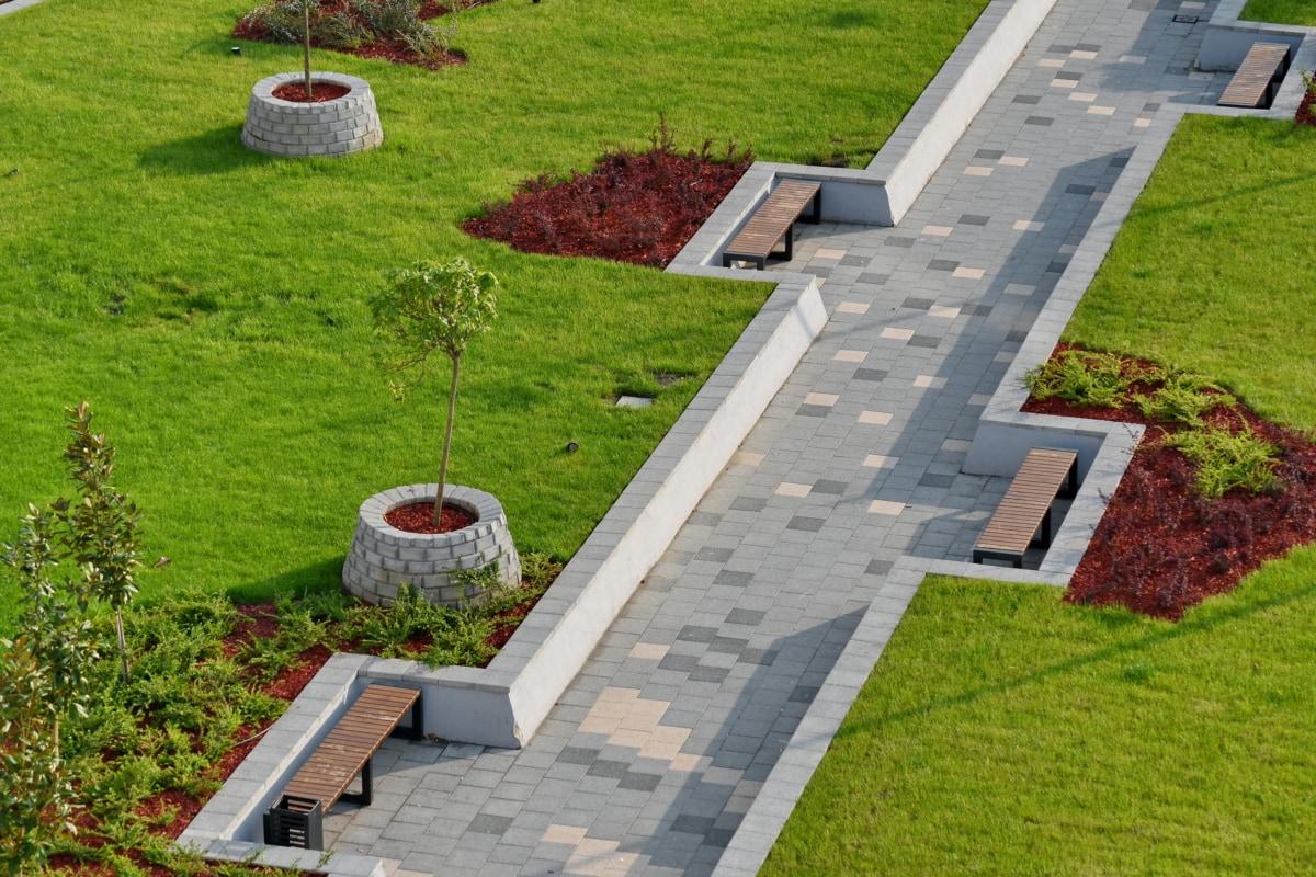 architectural style, garden, lawn, patio, grass, yard, flower, outdoors, summer, landscape