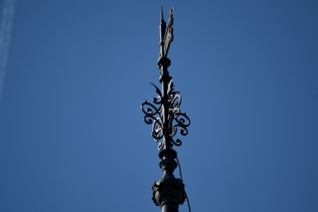 cast iron, high, top, outdoors, blue sky, architecture, daylight, vertical, art, tower