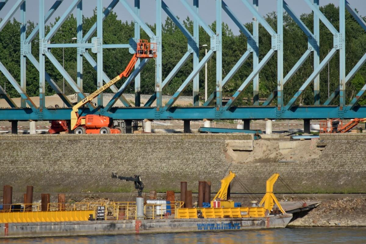 barge, industry, ship, workplace, machine, crane, water, bridge, river, building