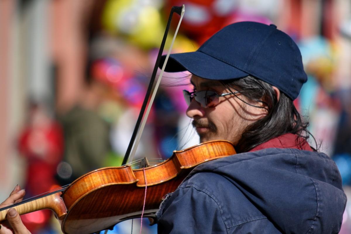 γυαλιά οράσεως, Φεστιβάλ, καπέλο, μουσικός, Οδός, βιολί, μέσο, Παίξτε, μουσικά, κιθάρα