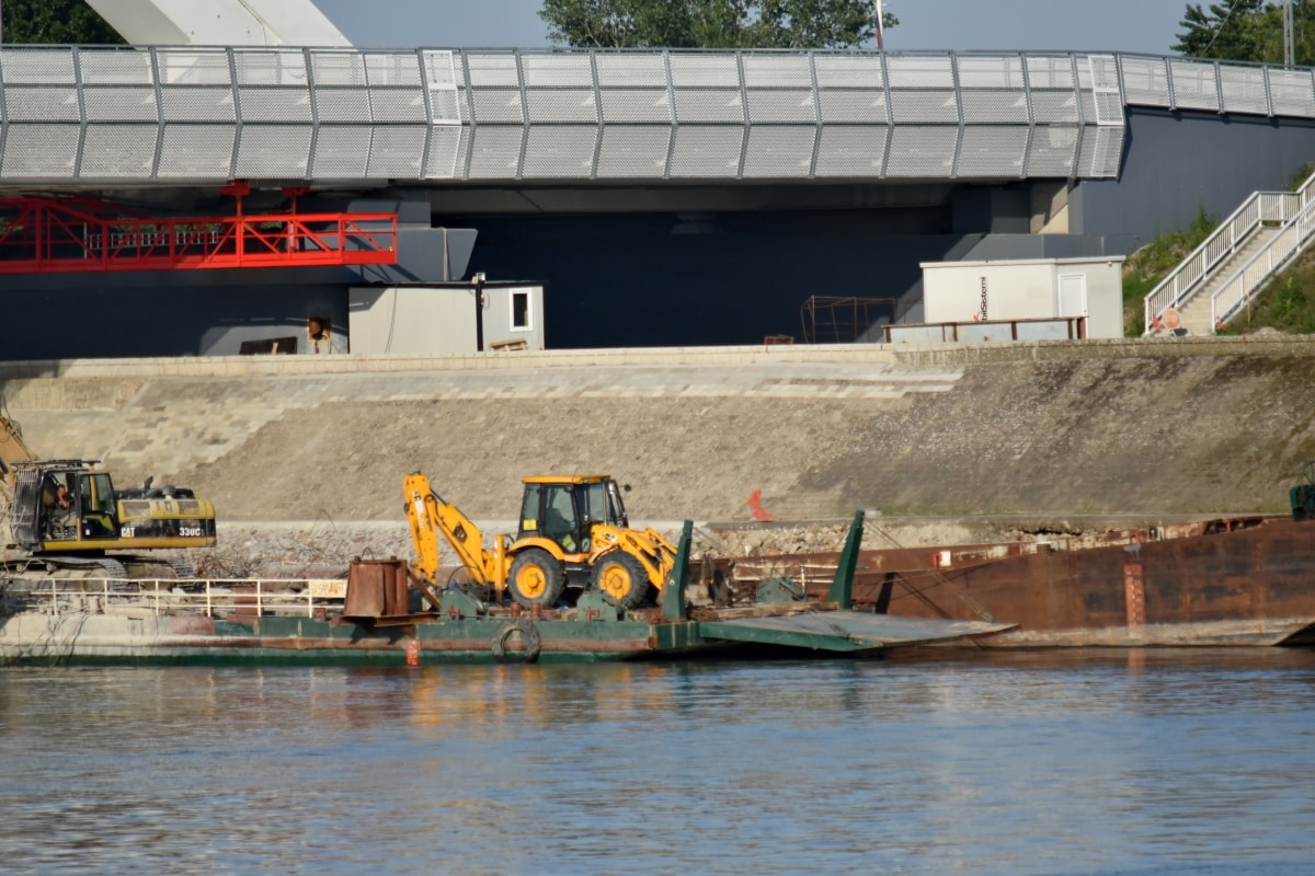 barge, ship, shipyard, industry, vehicle, water, watercraft, boat, river, building