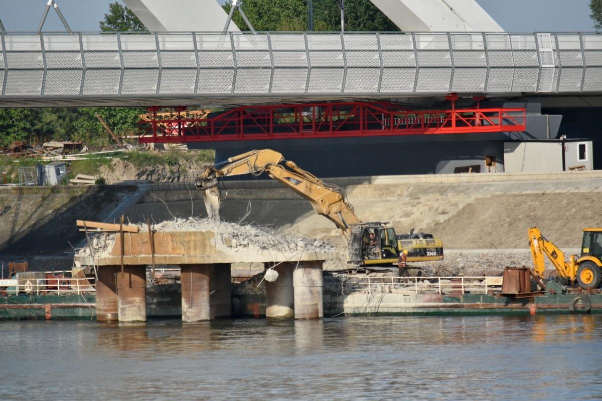 barge, pont, Ruin, travailleurs, lieu de travail, rivière, eau, jetée, véhicule, unité