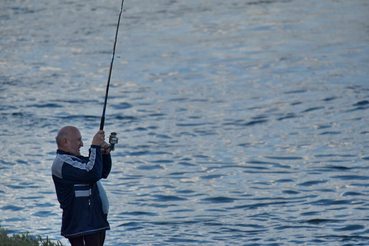 pêche, pêcheur, homme, engins de pêche, sport, eau, canne à pêche, Recreation, compétition, action