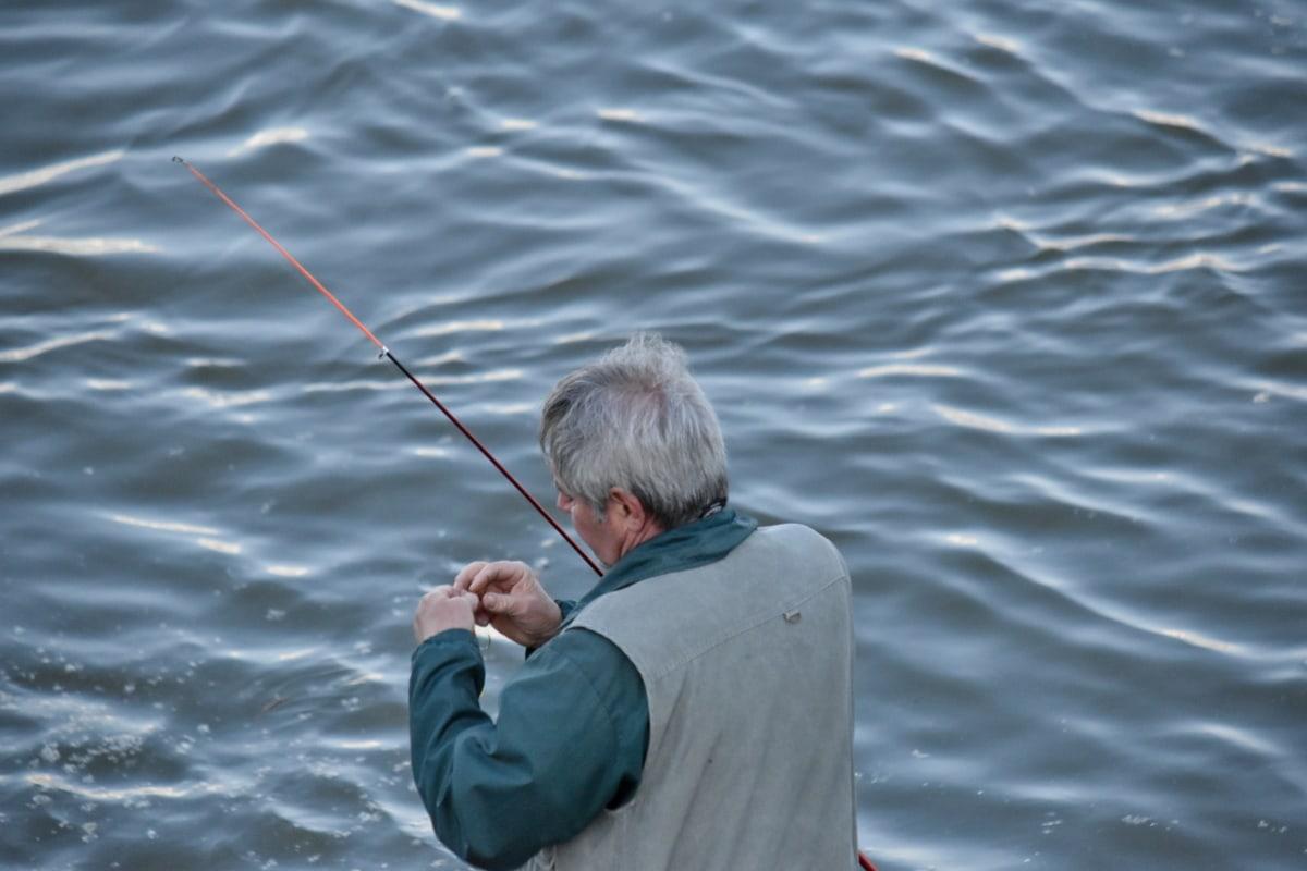 fisherman, fishing gear, water, leisure, recreation, outdoors, people, man, nature, summer
