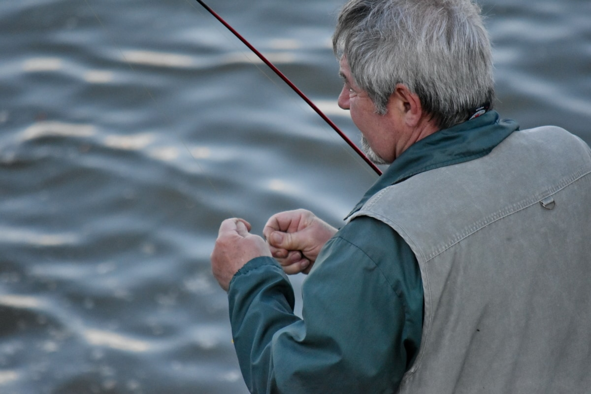 elderly, fisherman, fishing gear, water, outdoors, man, leisure, recreation, nature, summer