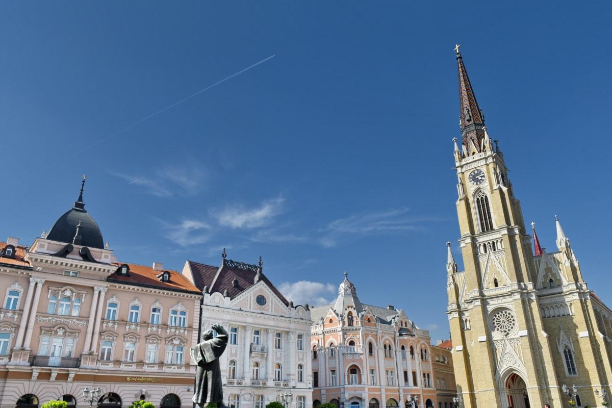 Centre ville, place, architecture, Création de, point de repère, Palais, Ville, à l'extérieur, Église, vieux