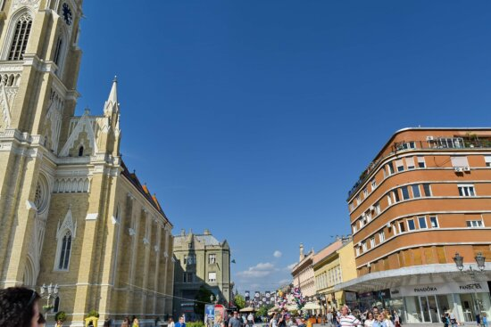 crowd, downtown, people, tourism, tourist, tourist attraction, cathedral, building, tower, architecture