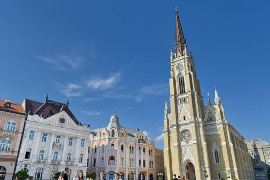 church tower, downtown, tourist attraction, architecture, facade, building, church, cathedral, city, outdoors