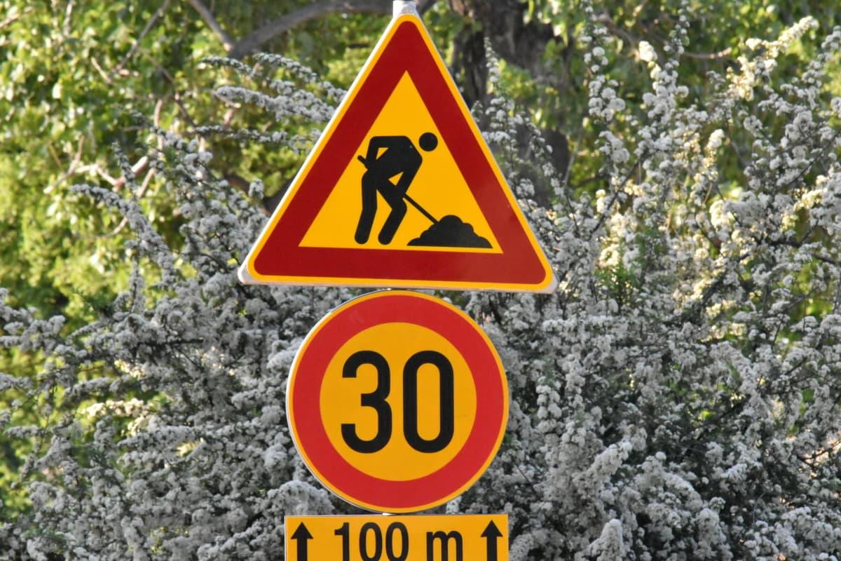 riadenie prevádzky, dopravná zápcha, žltá, Upozornenie, znamenie, nebezpečenstvo, Upozornenie, cestné, symbol, prevádzky