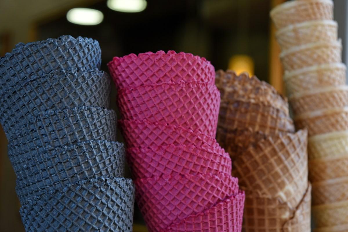 kornet, lækker, dessert, mad, flødeis, lyserød, mønster, design, indendørs, farve