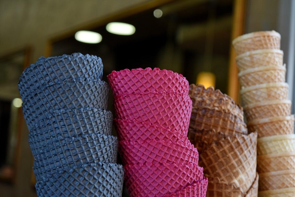 coloré, confiserie, Cornet, crème glacée, à l'intérieur, alimentaire, modèle, à la main, conception, Couleur