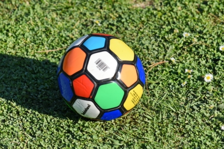colorful, round, shadow, soccer, soccer ball, ball, goal, football, game, field