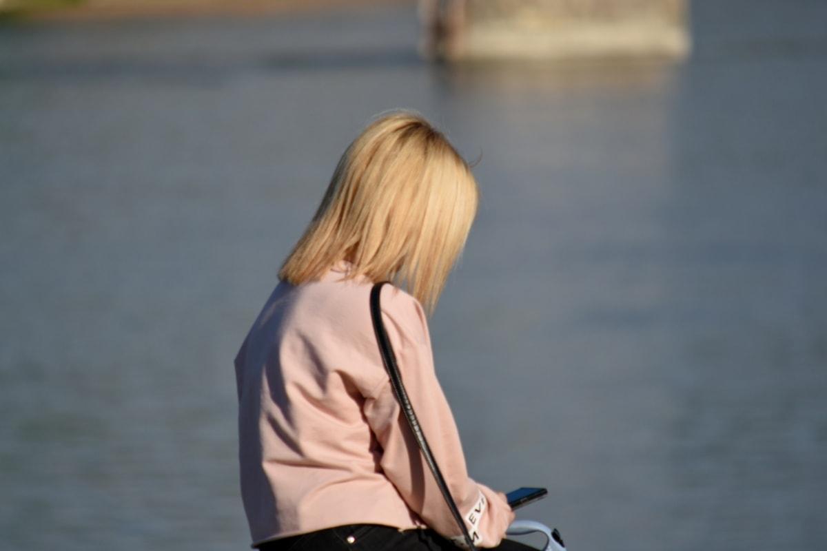 plava kosa, žena, ljudi, na otvorenom, portret, opuštanje, slobodno vrijeme, sjedeti, gledanje, modni