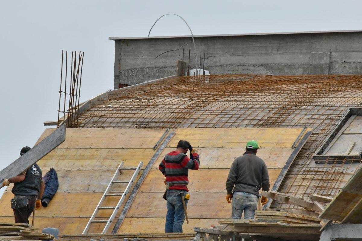 працівник будівництва, промисловість, Будівля, будівельник, люди, Безпека, людина, Сходи, дах, Архітектура