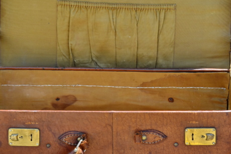 dirty, leather, luggage, box, old, vintage, empty, antique, wooden, design