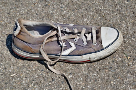 shoelace, footwear, fashion, old, street, sneakers, dirty, ground, soil, sport