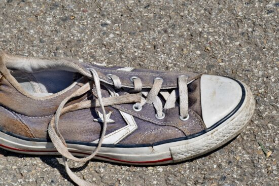 footwear, fashion, dirty, sneakers, old, ground, street, outdoors, recreation, sport