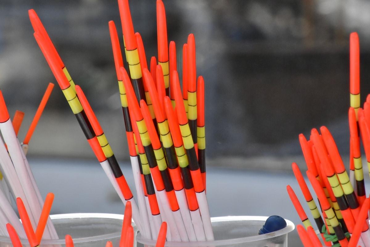 fargerike, fiskeredskap, materiale, farge, mange, gruppe, plast, fargerike, gul, utstyr