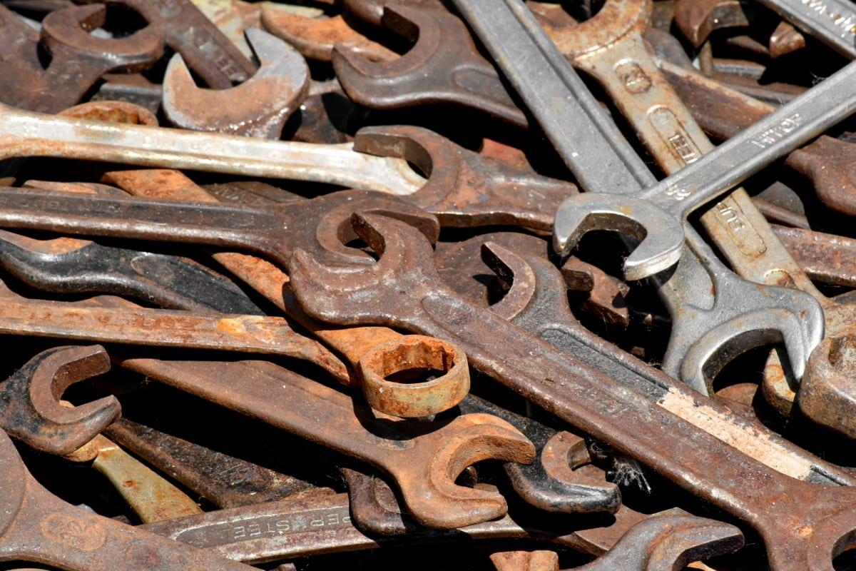 öntöttvas, kéziszerszám, fém, rozsda, csavarkulcs, régi, vas, acél, fémes, iparág