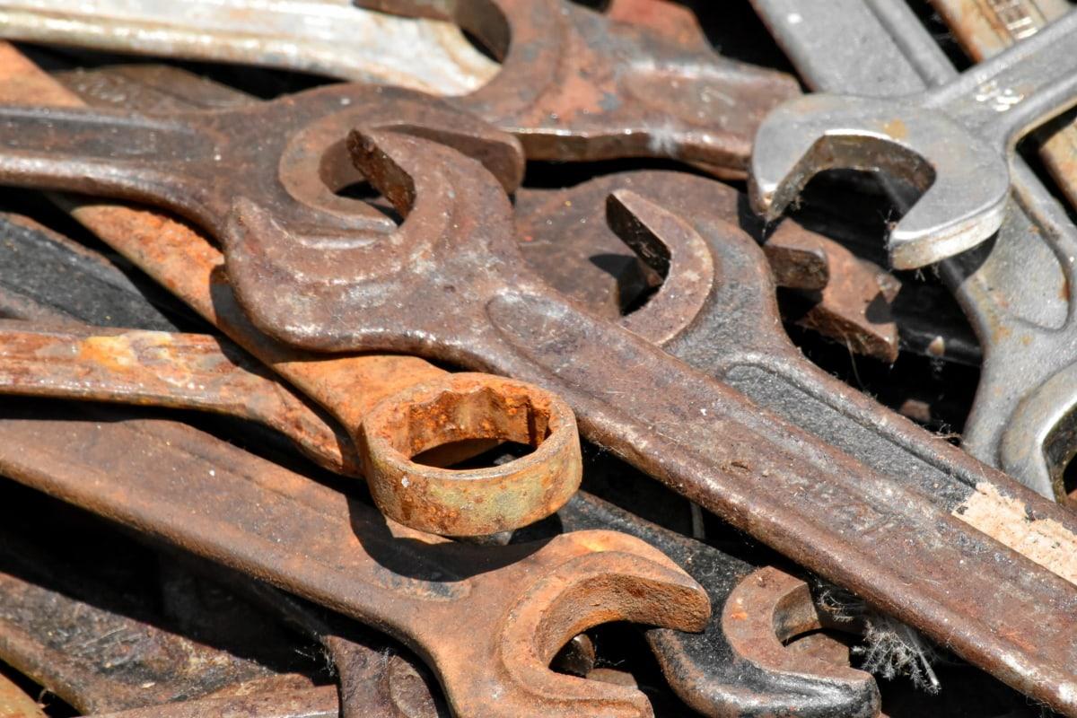 skiftnyckel, rost, gamla, stål, järn, industrin, en del, smutsiga, närbild, Metallic