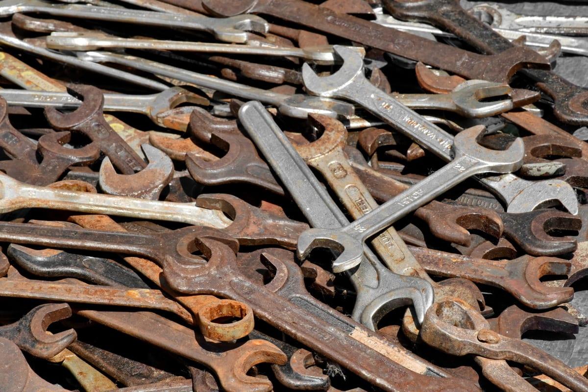 handverktyget, verktyg, skiftnyckel, rost, stål, järn, gamla, Metallic, konsistens, industrin