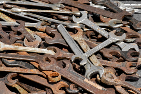 hand tool, tool, wrench, rust, steel, iron, old, metallic, texture, industry