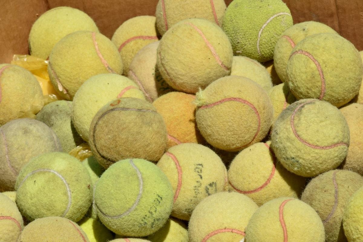 ballen, boksen, kartong, tennis, haug, nærbilde, mange, gruppe, utstyr, detaljer