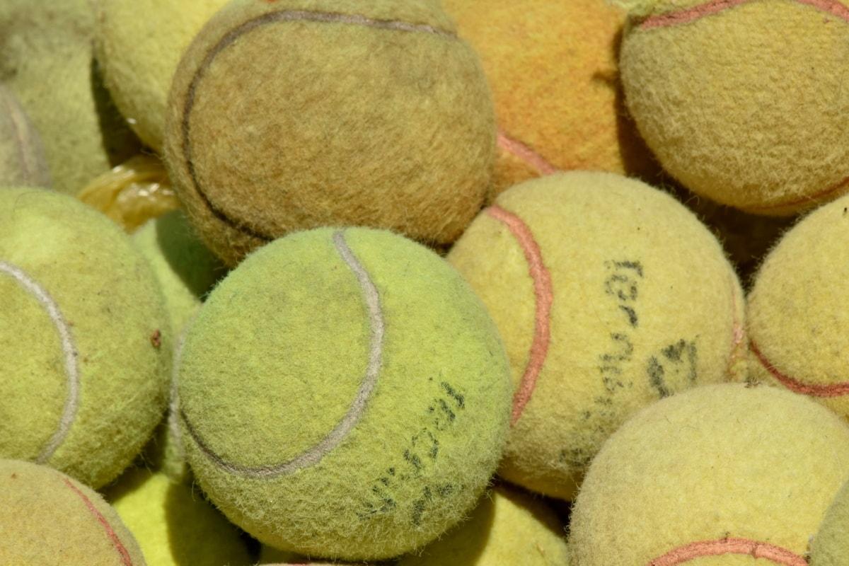 ballen, detaljer, sport, tennis, gul, utstyr, tradisjonelle, nærbilde, haug, tekstur