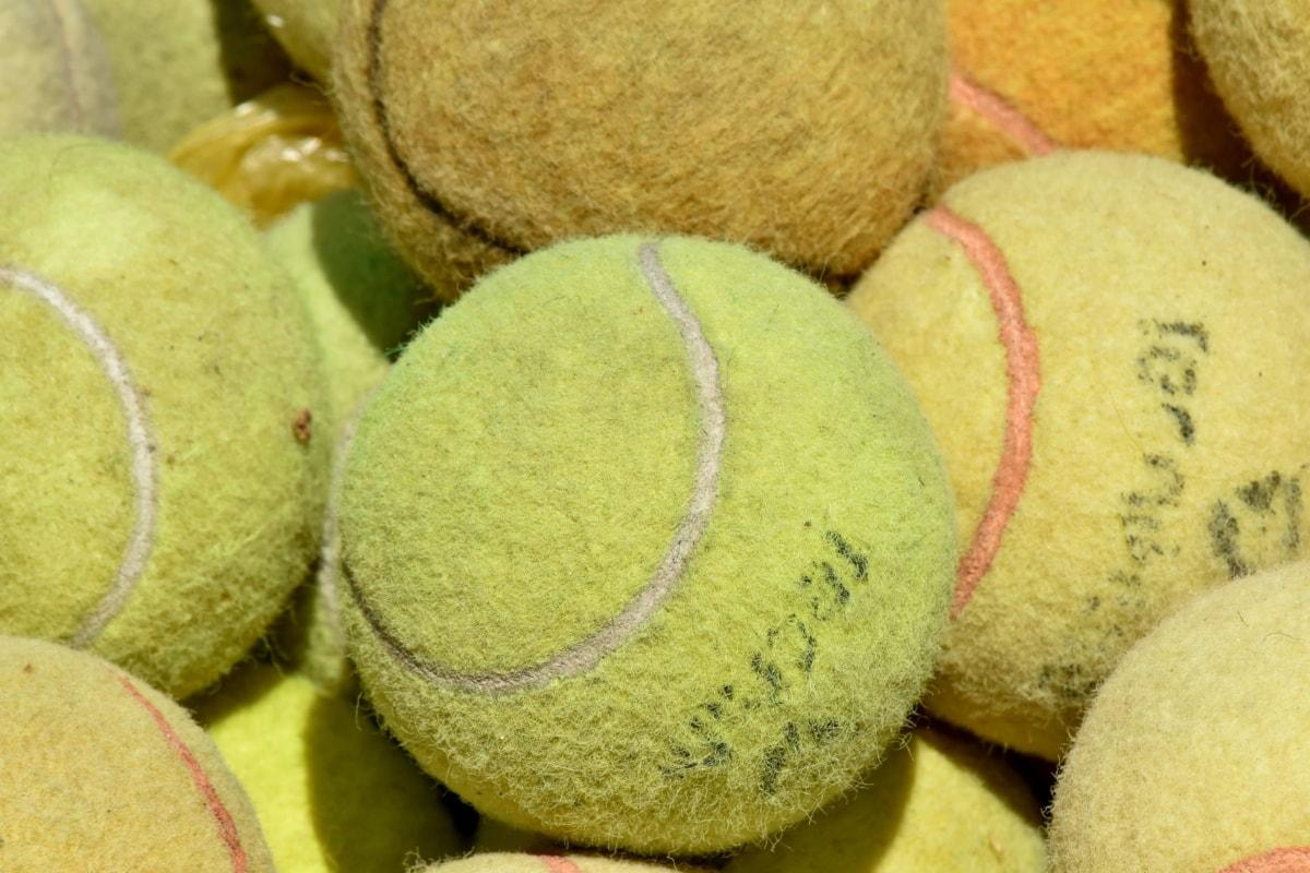 ลูกบอล, ขนสั้น, เทนนิส, อุปกรณ์, แบบดั้งเดิม, ใกล้ชิด, เนื้อ, สี, เกม, กลุ่ม