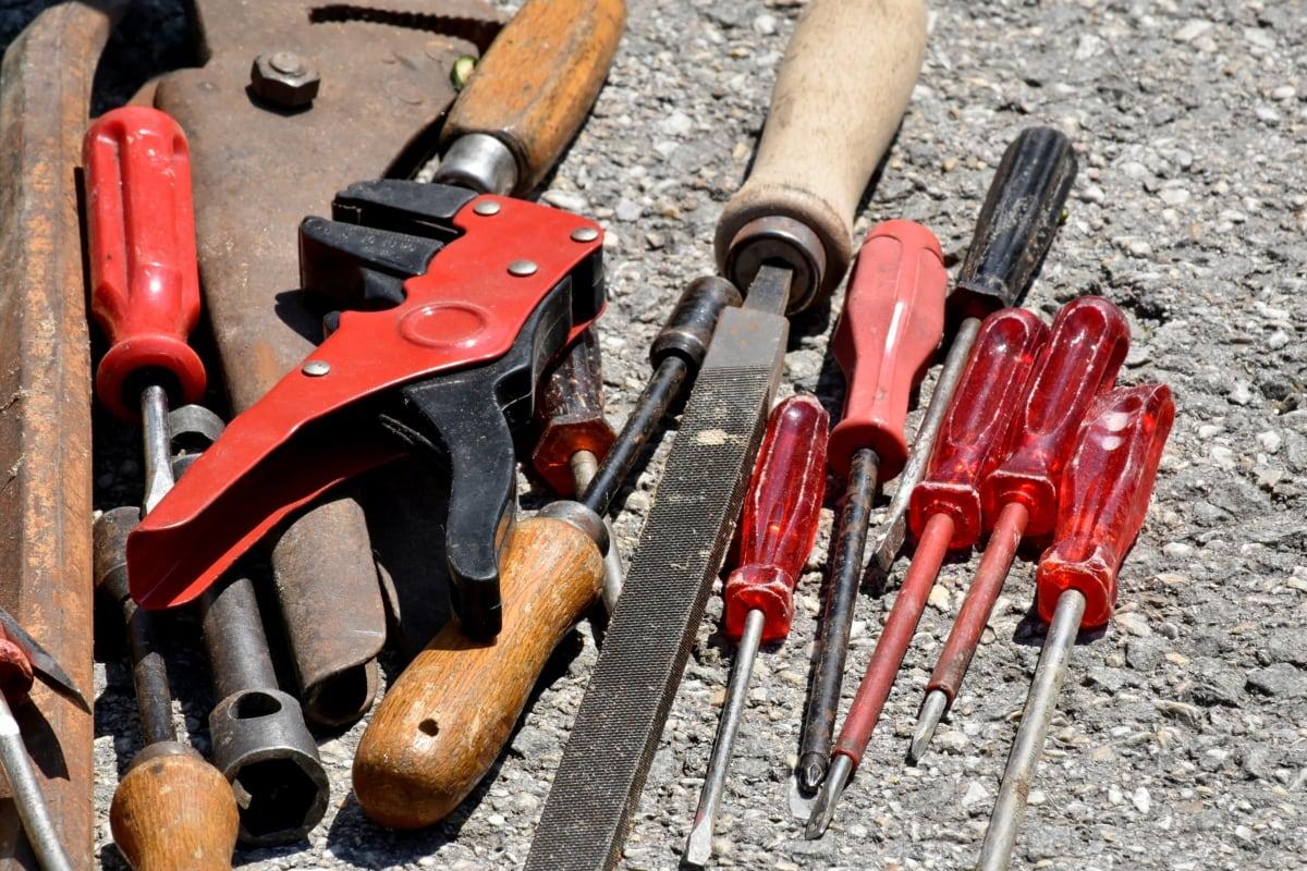 คีม, ไขควง, ประแจ, อุปกรณ์, เครื่องมือ, เครื่องมือมือ, อุตสาหกรรม, เหล็ก, เหล็ก, ซ่อมแซม