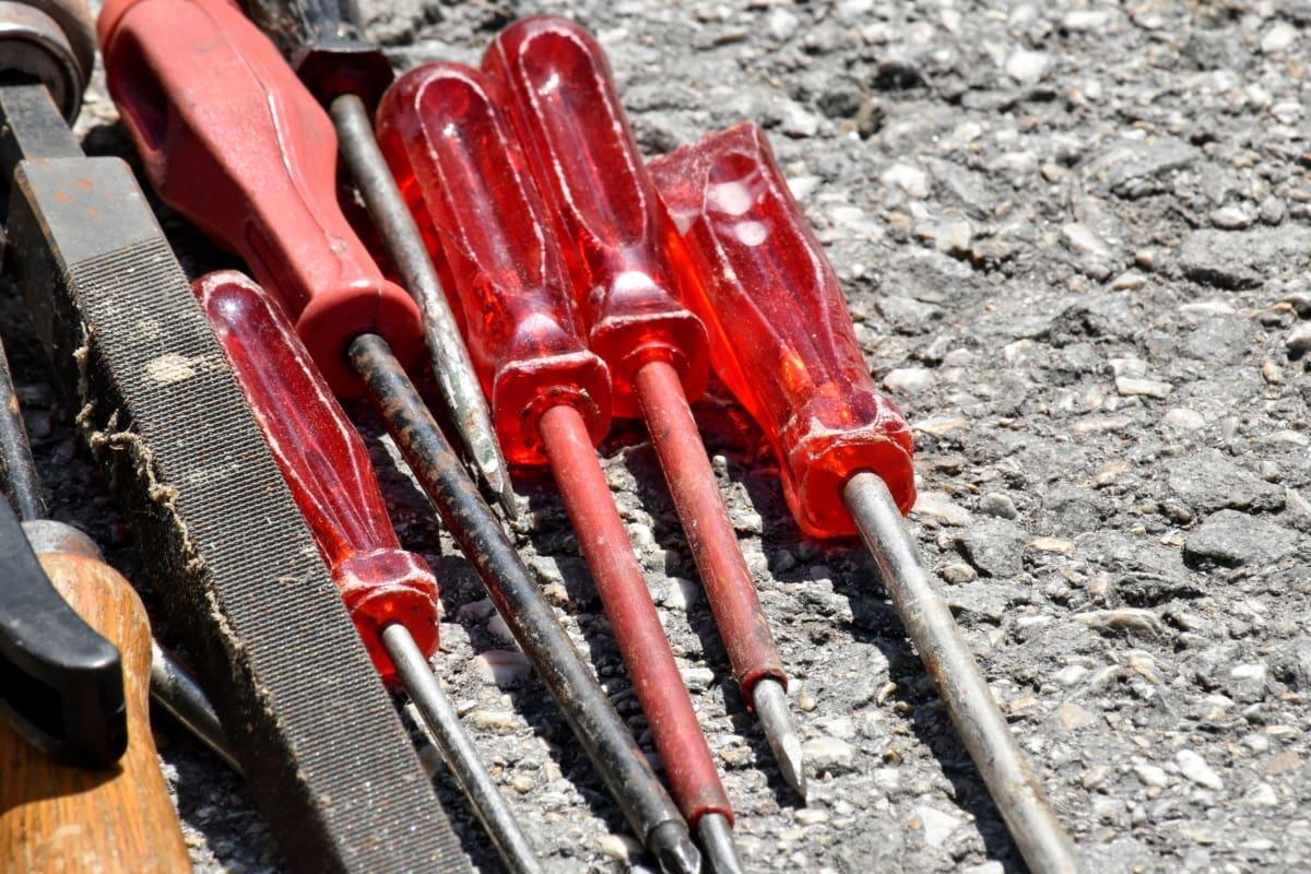 ไขควง, เครื่องมือมือ, เหล็ก, เหล็ก, เก่า, กิจกรรมกลางแจ้ง, อุตสาหกรรม, เครื่องมือ, อุปกรณ์, ไม้