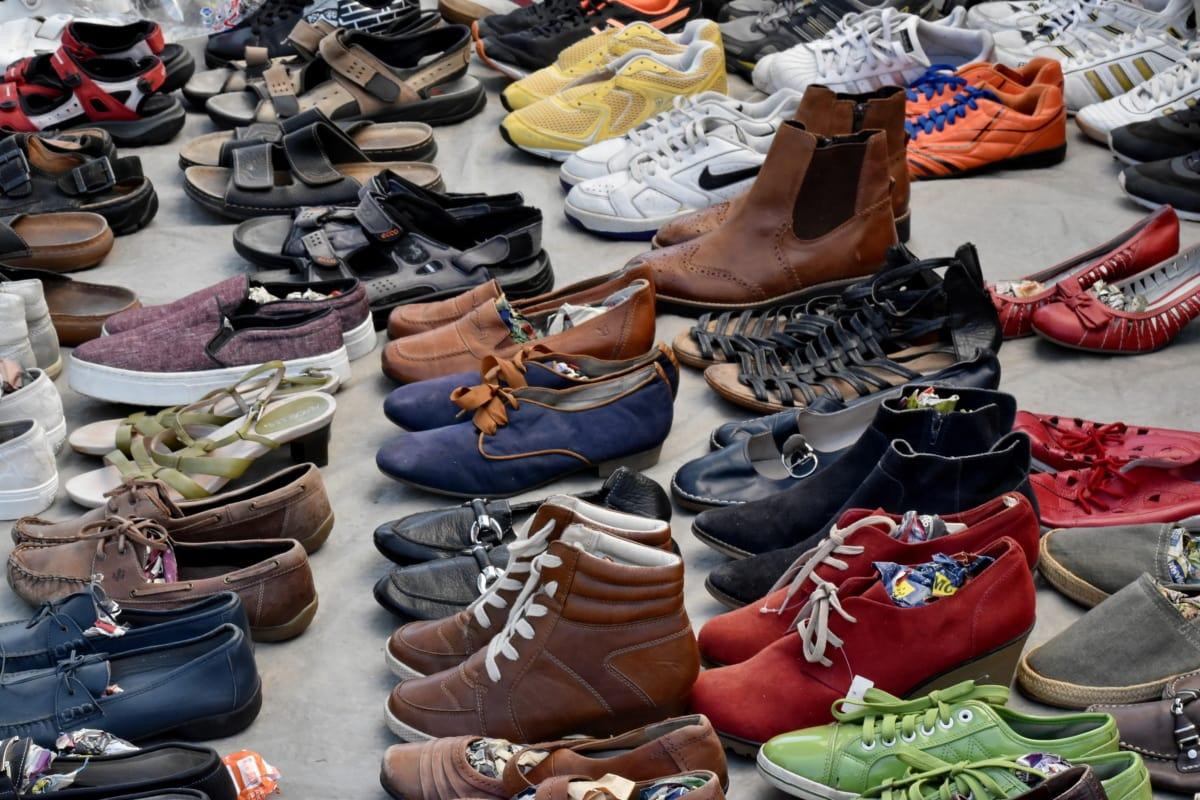 Bazar, comércio, calçado, venda, mercado, vender, moda, fazer compras, estoque, couro
