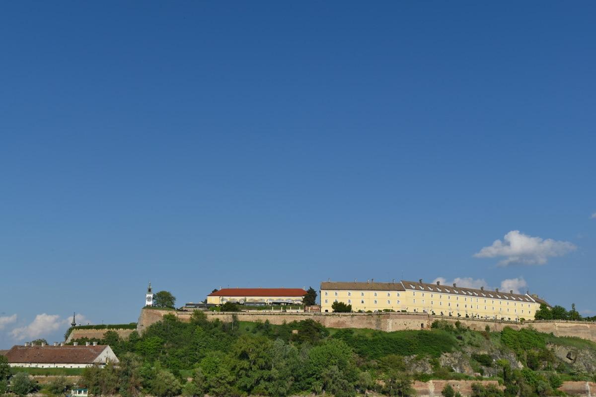 Kasteel, met uitzicht op, panorama, landschap, het platform, Rampart, buitenshuis, gebouw, stad, boom
