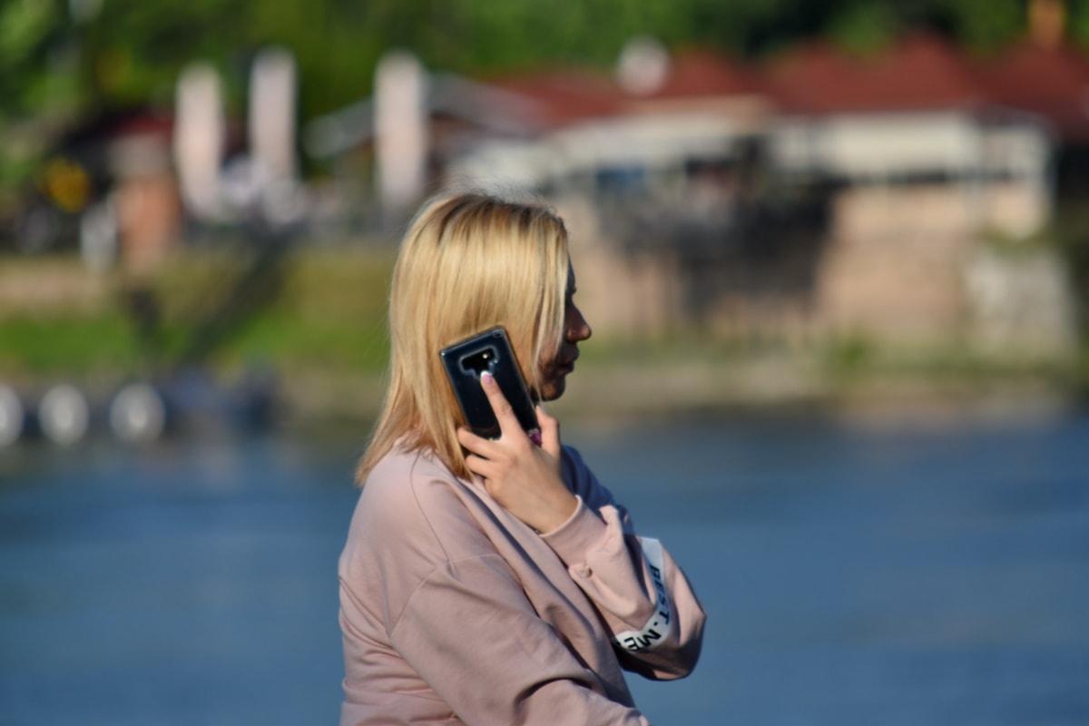 cellphone, комуникация, телефон, жена, на открито, Момиче, свободно време, портрет, природата, лято