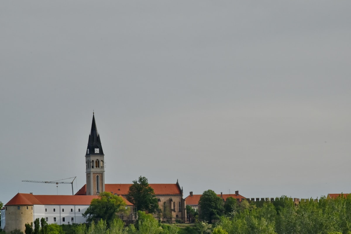 castle, church, church tower, Croatia, resort area, religion, palace, building, tower, architecture