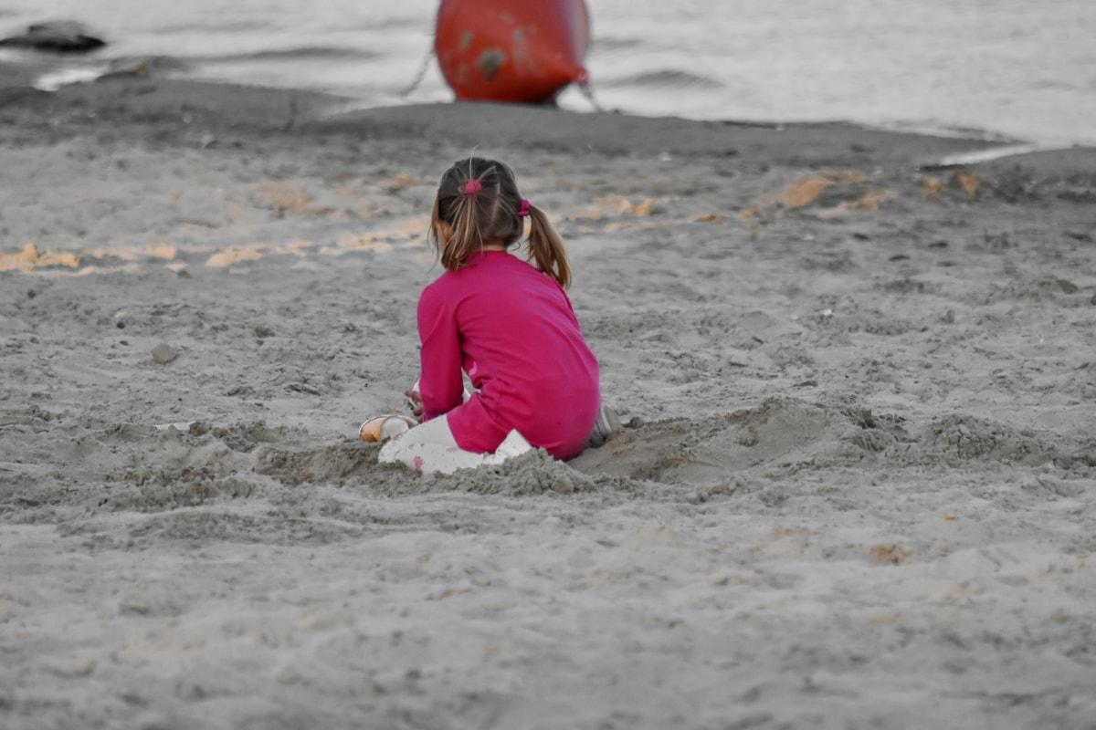 pláž, Detstvo, Hravé, Detské ihrisko, krásne dievča, voda, morský breh, oceán, piesok, letné