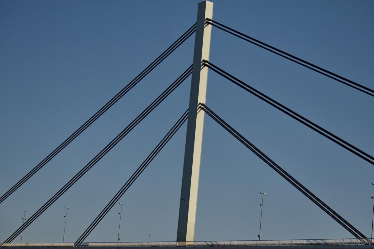 függőhíd, drót, szerkezete, torony, kábel, elektromosság, acél, építészet, technológia, város