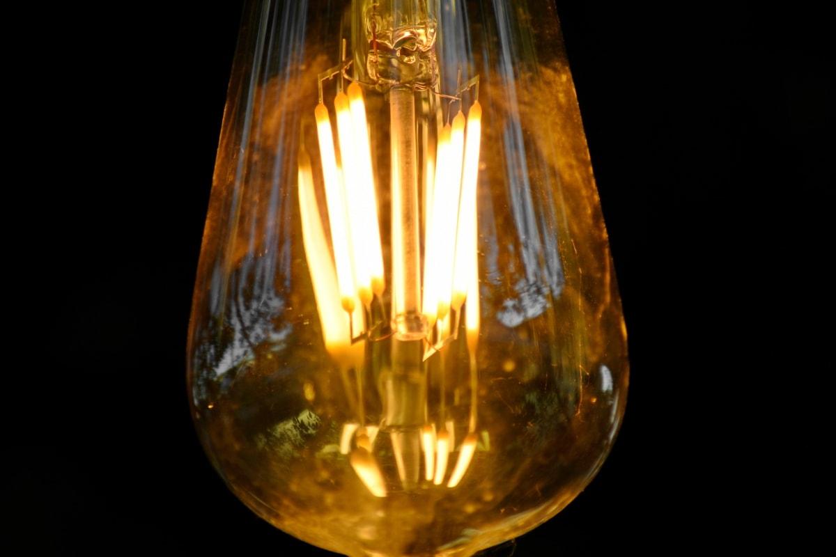 drôt, žiarovka, tmavé, lampa, sklo, svetlo, osvetlené, svetlé, elektrickej energie, svietiace
