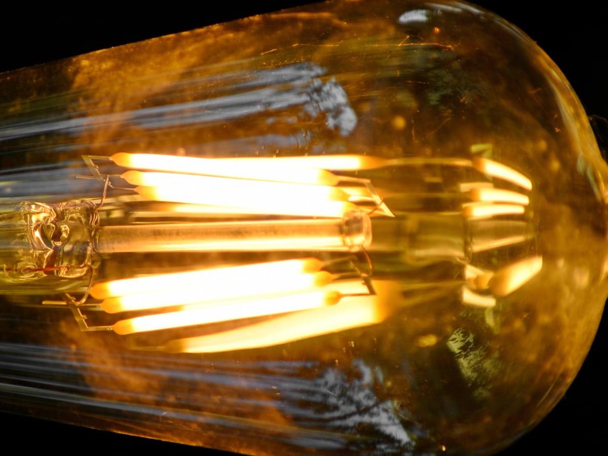 ガラス, 電球, 発光, マクロ, 光, 反射, 電球, ランプ, 抽象的な, ぼかし