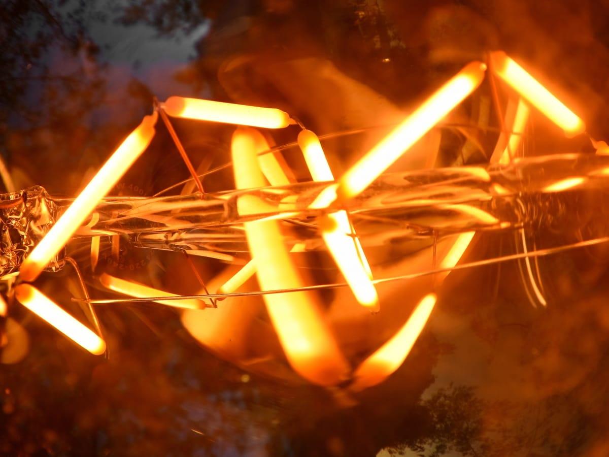 lâmpada de iluminação, fios, calor, luminescência, Borrão, quente, Resumo, Escuro, luz, iluminado