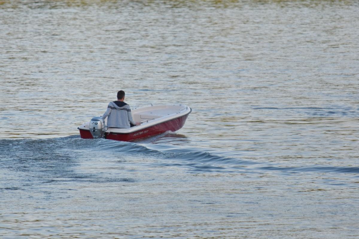 homem, lancha, mar, água, barco, barco a motor, recreação, motos de água, ação, Lago