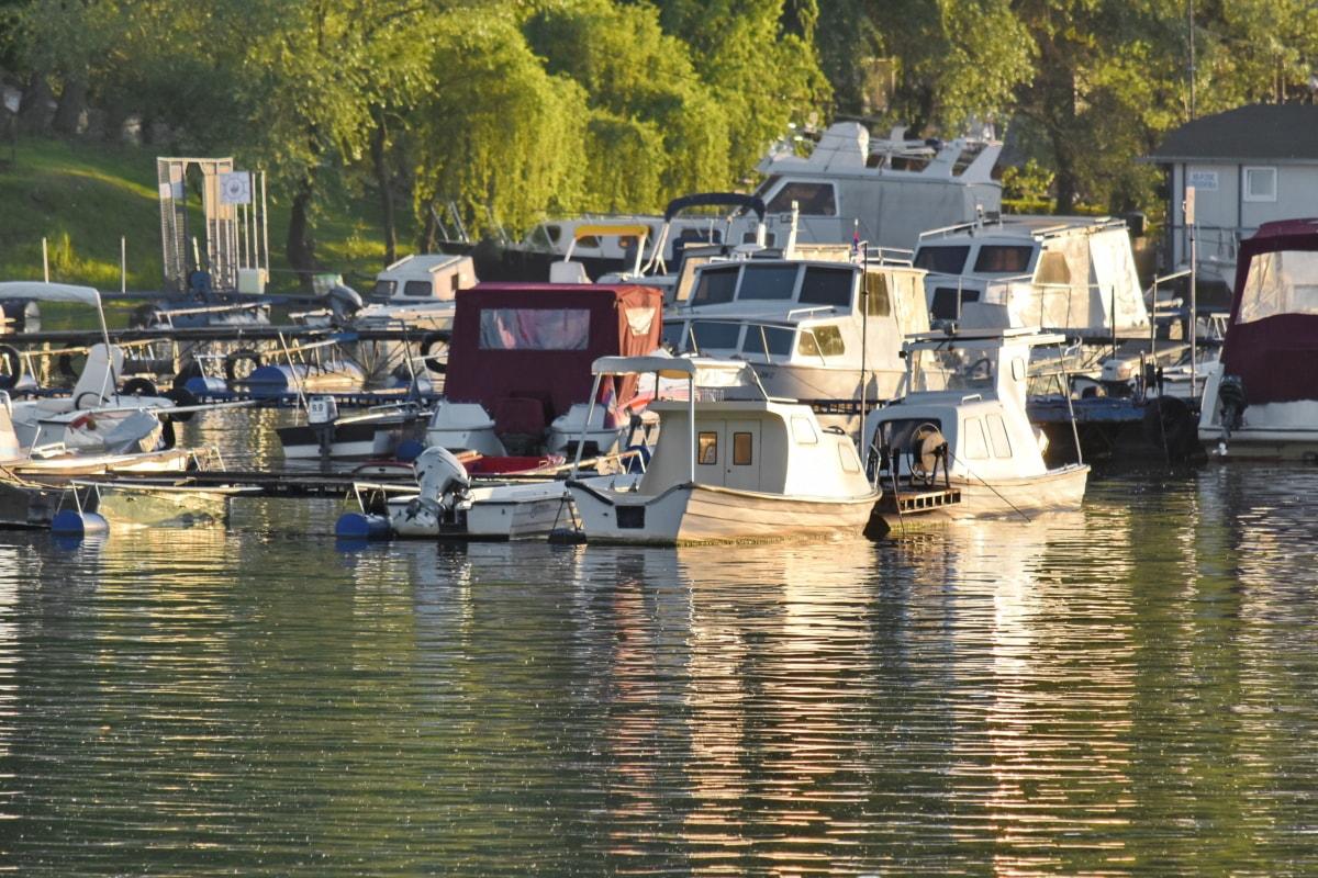 coucher de soleil, remise à bateaux, hangar, bateau, Création de, eau, embarcation, rivière, véhicule, réflexion