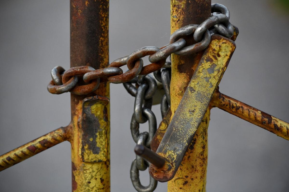 Chuỗi, hàng rào, cánh cổng, kim loại, chất tẩy rửa, thép, khóa, sức mạnh, an toàn, cũ
