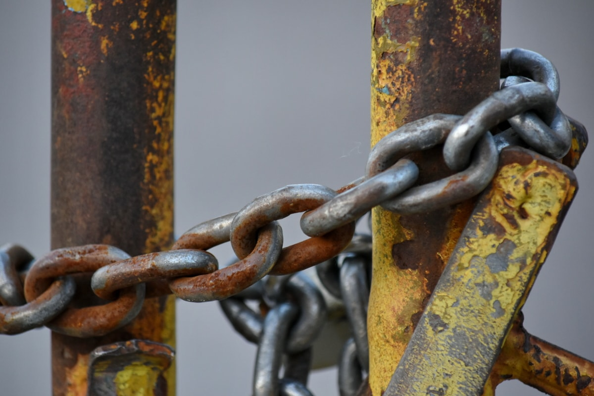 cast iron, fence, iron, security, steel, chain, strength, attachment, rust, safety